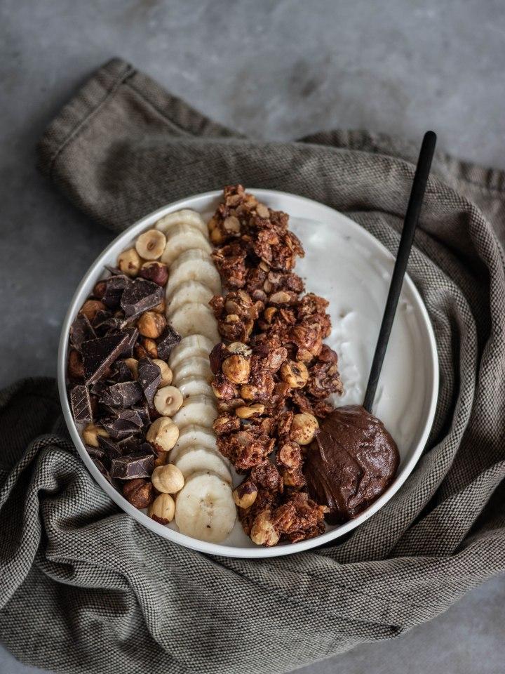 granola vegan sans gluten chocolat noisette