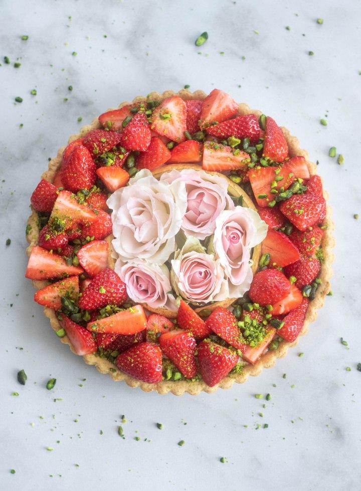 Tarte aux fraises et à la pistache VEGAN & SANSGLUTEN)